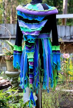 Made to order  Super Cute Upcycled Recycled Sweater coat  Pixie Elf Faery Nymph Anemone. $244.00, via Etsy.