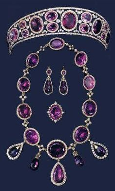 Queen Mary Amethyst Tiara and Jewelry