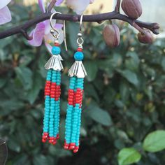 Seed Bead Tassel Earrings - Red and Turquoise