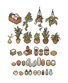 Plants png art Ideas for 2019 Arte 8 Bits, Cool Pixel Art, Pix Art, Pixel Art Games, Sprites, Perler Bead Art, Game Design, Art Tutorials, Cute Art