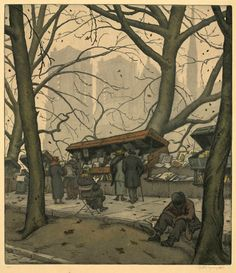 Notre Dame in Autumn (Early 20thC.). Jaromir Stretti-Jamponi. Color etching and aquatint on wove