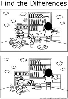 If you look carefully, you can find differences between the two pictures of two children studying and reading at the library in this printable coloring page for kids. Library Activities, Class Activities, Kindergarten Activities, Educational Activities, Preschool, Mazes For Kids, Worksheets For Kids, Find The Difference Pictures, Hidden Pictures