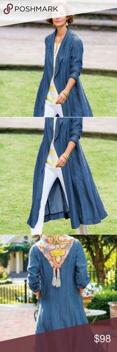 Soft Surroundings Denim Tencel Duster, Sz L Lovely, weighty tencel denim duster from Soft Surroundings in a size large.  This is a showstopping piece and looks casually beautiful paired with just about anything!  Fold down collar and hourglass stitching in the back make this SO flattering!  THERE ARE POCKETS💓  First few photos are stock, as it seems impossible to fit the entire jacket in the shot 😁. Purchased and worn once for a photo shoot, this beauty can be yours for a steal. Soft…