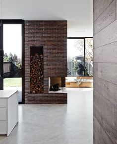Victorian in Australia Seamlessly Transitions to Modern Extension Brick Fireplace, Fireplace Surrounds, Fireplace Design, Fireplace Heater, Victorian Fireplace, Brick Wall, Malvern House, Interior Design Awards, Home Decor Trends