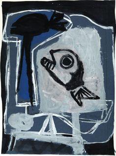 Karel Appel (Dutch, 1921-2006), Le Poisson, 1947. Gouache on paper, 56.3 x 38.5 cm.