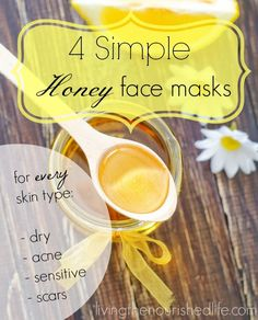 """4 Simple Honey Face Masks - I tried the """"Honey Face Mask for Acne-Prone Skin"""" today and am very pleased with the results! I let it sit for 30 minutes and can already see improvement in my complexion. Might try the mask for dry skin next."""