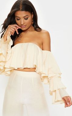 The Cream Woven Bardot Tiered Sleeve Crop Top. Head online and shop this season's range of tops at PrettyLittleThing. Belly Top, Bardot Crop Top, Strappy Crop Top, Summer Outfits For Teens, Cute Crop Tops, Casual Chic Style, Types Of Sleeves, Sleeve Types, Mannequin