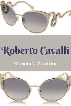 0d4716176 Roberto Cavalli Menkalinan 890S 28F Goldtone Metal Cat Eye Women's  Sunglasses w/Crystals