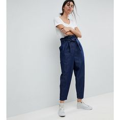 ASOS WHITE TALL Paper Bag Indigo Denim Jean (110 620 LBP) ❤ liked on Polyvore featuring jeans, blue, zip fly jeans, tailored jeans, relaxed fit jeans, indigo jeans and asos jeans