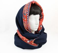 Hooded scarf/reversible scarf/circle scarf/cowl neck by Jousilook Presents For Her, Gifts For Mum, Gifts For Women, Loop Scarf, Circle Scarf, Navy Blue Scarf, Hooded Cowl, Gifts Under 10, Fall Scarves