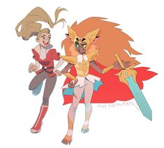 """Adora and Catra as a hero :) ❤️ Steven Universe, Dreamworks, Fanart, She Ra Princess Of Power, Fandoms, Animation, Magical Girl, Anime Manga, Cute Art"