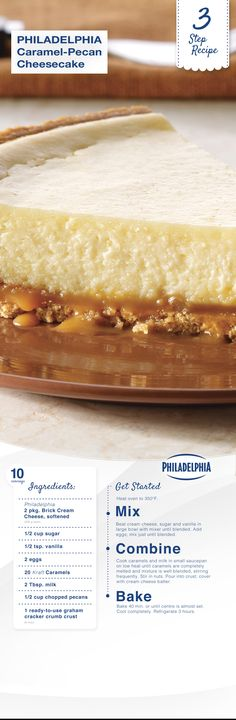 PHILADELPHIA 3-STEP Caramel-Pecan Cheesecake with Philly cream cheese