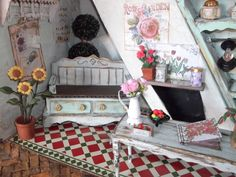 Miniature garden room/conservatory.  DIY dolls house