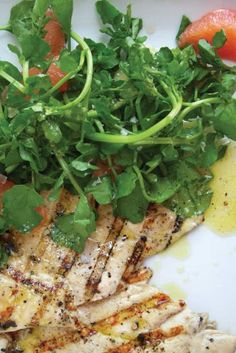 Grilled Chicken Cutlets with Grapefruit + Watercress Salad