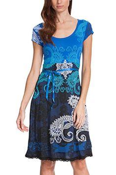 4c2de5b0ea5f Desigual Liz - Robe - Trapèze - Imprimé - Manches courtes - Femme - Bleu  (AZAFATA 5027) -S (55V21P0)