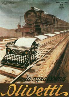 """Manifesto pubblicitario per la macchina per scrivere M20, disegnato nel 1923 dal cartellonista Pirovano. In un'altra versione compare la scritta """"la velocissima"""" anziché """"la rapidissima""""."""