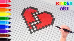 how to draw a broken heart pixe