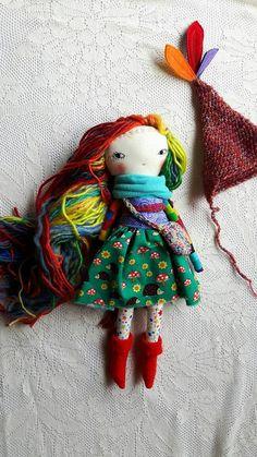 SALE darling rainbow little lu 14ish handmade cloth