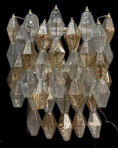 Excited to share this item from my #etsy shop: Midcentury Murano Glass Architectural Sconces, Large Geometric Polyhedra Sconces, Wiring Compatible USA, Free Shipping USA