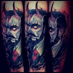 Cool horned gentleman tattoo by Dean Kalcoff