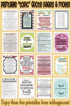 LOTS of quotes and quote pages that can be printed! free printables at inkhappi.com