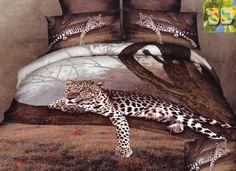 Brązowa pościel bawełniana z gepardem