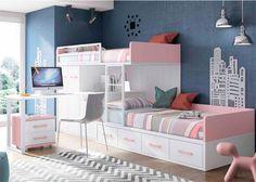 Habitación Infantil: Habitación infantil con 2 camas tipo Tren | Dormitorio infantil con 2 camas tipo Tren. La cama inferior es un nido de 4 cajones. Dispone de arc�