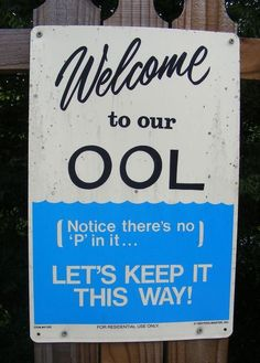 Clever Pool Warning Sign