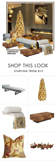 """contemporary FIREPLACE"" by kapua-blume ❤ liked on Polyvore featuring interior, interiors, interior design, home, home decor, interior decorating, Threshold, Disney, John-Richard and Nearly Natural"