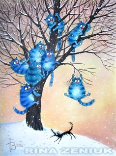Image Chat, Photo Chat, Cat Colors, Blue Cats, Cat Drawing, Whimsical Art, Cute Illustration, Beautiful Cats, Crazy Cats