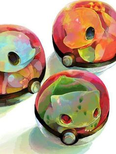 Squirtle, Bulbasaur, and Charmander in their pokemon balls.