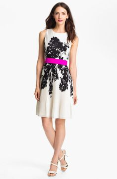 Flare dress - LOVE the print and pink accent belt.  Awesome!  $138