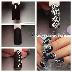 Black with white swirls