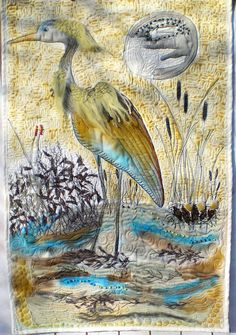 Heron landscape fiber art quilt, new home decor, neutral fiber art, art quilt wallhanging, by Crearts on Etsy