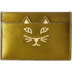 Charlotte Olympia Feline Card Holder (Plantation Green) Credit card... ($147) ❤ liked on Polyvore featuring bags, wallets, multi, charlotte olympia, card holder wallet, brown bag, cat wallet and embossed wallet