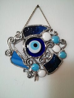Key Holder for Wall, Stained Glass, Lucky evil Eye Wall Hanging, Nazar Boncuk, Home Protection,  Gift