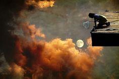 Catch the Moon - Girl in the Fiery Sky by Sonya Kanelstrand (http://www.etsy.com/listing/95713553/fantasy-fine-art-photography-print-girls)