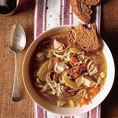 Chicken Soup with Cabbage and Apple uses precooked chicken breast and chicken sausage, so it cooks up in a flash! Use sweet potato (instead of white potato) and skip the oil for Phase 1.