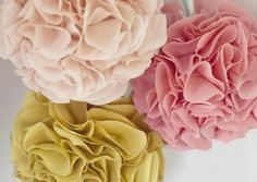 i love this diy pom pom project from dujour. similar to the winter pom poms i made for celebrate magazine, these use circles of fabrics rather than coffee filters. aren't they pretty? Diy Craft Projects, Diy And Crafts, Diy Flowers, Fabric Flowers, Tissue Flowers, Flowers Decoration, Cloth Flowers, Flower Diy, Diy Decoration