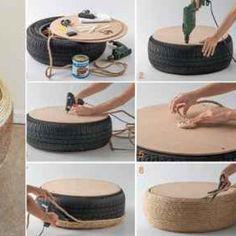 Dos videos instructivos para hacer dos tipos de puff con neumáticos reciclados:    También puedes ver paso a paso, cómo hacer puff con botellas: http://www.labioguia.com/como-hacer-puff-con-botellas-de-plastico/