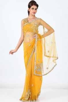 Amber Yellow Net Embroidered Wedding and Festival Saree