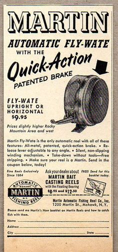 1951 Vintage Ad Martin Automatic Fly-Wate Fly Fishing Reels Mohawk,NY