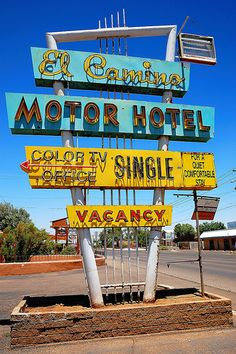 El Camino Motor Hotel  | #retro #vintage #sign #blue #red #orange #yellow #turquoise #neon