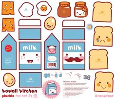 Such a great idea for spoonflower! Kawaii kitchen DIY plushie toy set!