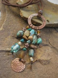 Gemstone Neckalce Turquoise and Antiqued Copper by esdesigns65, $50.00 by wanting