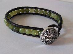 wrap bracelet immatation jade beads  upcycled by CreativeManiacs