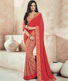 Buy Maroon Crepe Printed Saree With Blouse 73996 with blouse online at lowest…