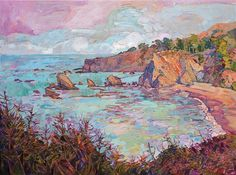 Mendocino coastal landscape painting in a modern impressionist style, by California artist Erin Hanson.