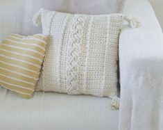 Another FREE Farmhouse Pattern: The Comfy Cables Pillow Cover — Megmade with Love Crochet Cable, Single Crochet Stitch, Crochet Home, Crochet Pillow Patterns Free, Free Crochet, Free Pattern, Lion Brand Hometown Usa, Front Post Double Crochet, Crochet Cushions
