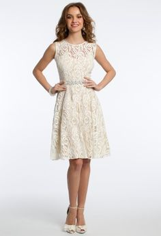 Lace Dress with Beaded Band and Satin Tie Back   Camillelavie.com #chic #short #dress #camillelavie